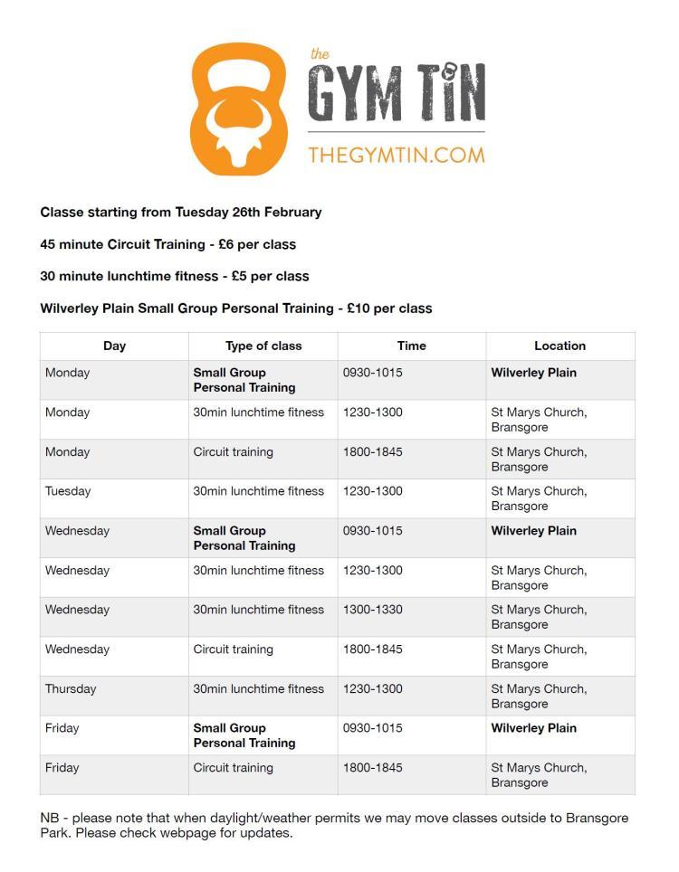 Gym Tin menu